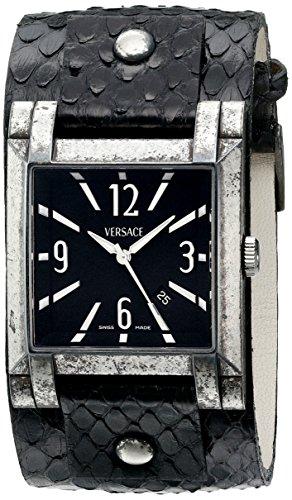 Versace Men's FLQ99D009 S428 Vintage Case with Character Analog Display Swiss Quartz Black - Versace Mens Vintage