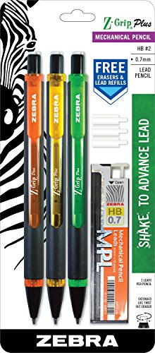 Zebra 55703 Z-Grip Plus Mechanical Pencils, Shake Advance Technology, 0.7mm Point Size, Refillable, Two Full Sized HB2 Leads per Pencil, Bonus Erasers, Assorted Colors, Pack of 3