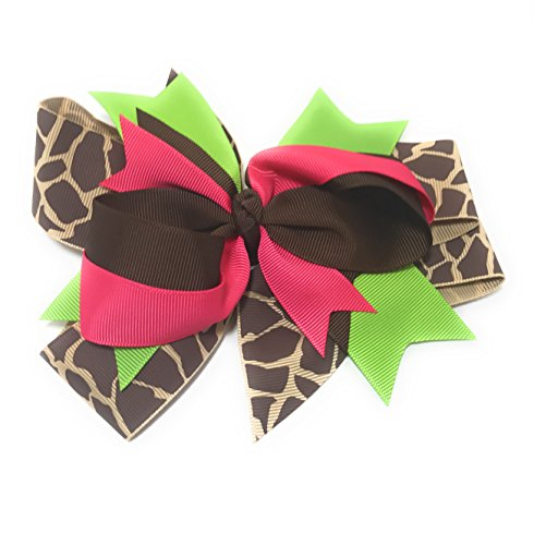 Chicky Chicky Bling Bling Girls Large And Round Boutique Hair Bow brown lime and pink ()
