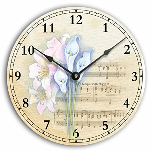 Vintage style shabby chic or Victorian style lilies and music background 10 inch wall clock. Antique white and tan background. Round Antique Sheet Music