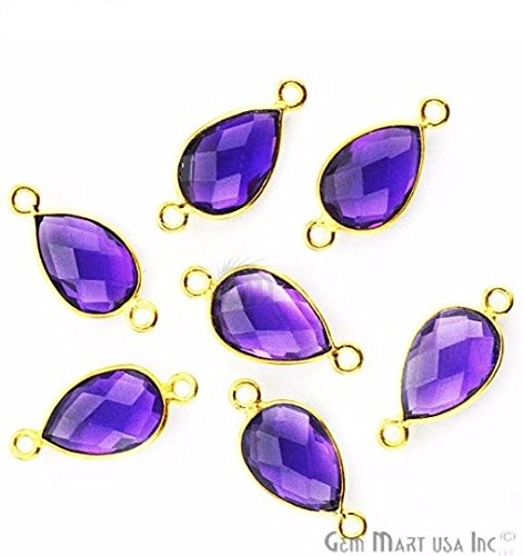 Amethyst Double Strand (Amethyst, Bezel Pears Shape Connector,8x12mm Pears 24K Gold Plated, Double Bail 1pc (HA-10154))