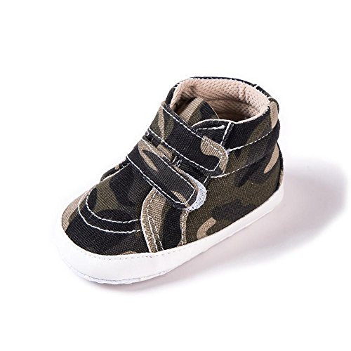 QMEI Toddler shoes 0-1 year old camouflage magic double paste canvas baby shoes , gray camouflage , 13cm