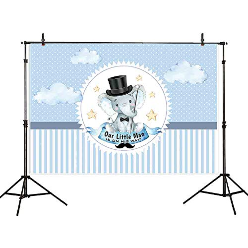 Allenjoy 7x5ft Polyester a Little Man is On His Way Elephant Baby Shower Backdrop Boy Bow Tie Gentleman Party Blue Stripe Background Mustache Polka Dots Photography Photo Booth Cake Table Banner ()