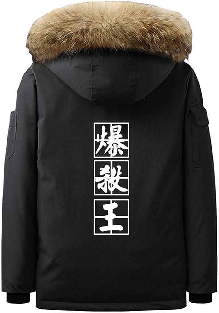 Gumstyle Anime My Hero Academia Parka Jacket Coat Mens Winter Hooded Sweatshirt with Faux Fur Trim Hood