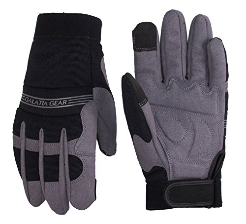 Synthetic Leather Work Gloves- Touch Screen Functional- Mechanic/Machine/Tactical/Utility - Tear Vibration Temperature Cut Resistant- Reinforced- Gray/Black- One(1) Pair- [Large]