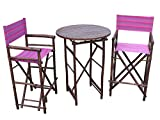Zew SET-016-6-20 1 High Round Table and 2 High Director Chairs, Pink/Purple Stripe Review