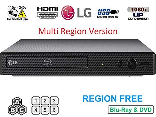 LG BP175 Region Free Blu-ray Player, Multi Region 110-240 Volts, 6FT HDMI Cable & Dynastar Plug Adapter Bundle (Best Lg Blu-ray Dvd Players)