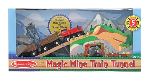 Melissa & Doug Magic Mine Train Tunnel Wooden Train Accessory Set With Sound Effects (5 pcs)