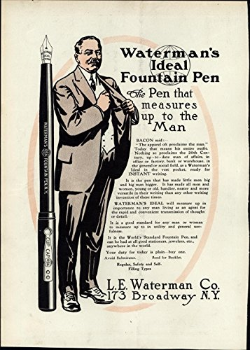(Waterman's Ideal Fountain Pen pocket suitcoat 1911 Harper's vintage print)