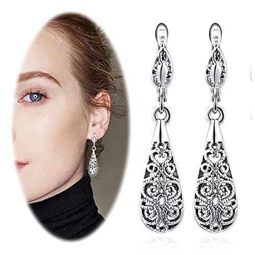 (Wowanoo Vintage Hollow-Carved Drop Earrings, with Fishhook Backing, for Pierced Ears, for women Silver)