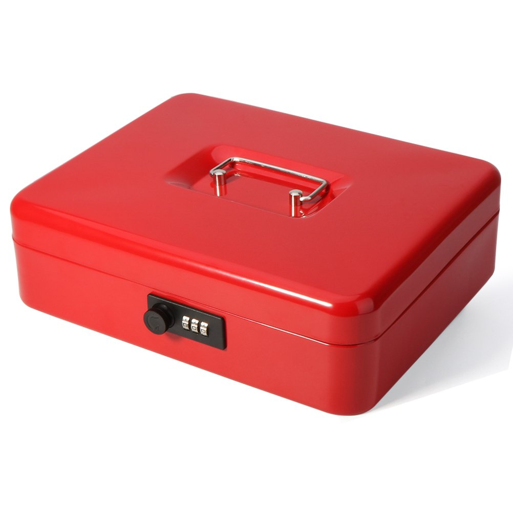 Safe Metal Cash Box with Money Tray & Combination Lock, Decaller Large Lock Storage Money Box with 5 Compartments Cash Tray, Red, 11 4/5'' x 9 2/5'' x 3 1/2'', QH3003L