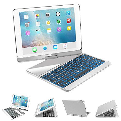 iPad Keyboard Case for 2017 New iPad 9.7, iPad pro 9.7, iPad Air, iPad Air 2, SENGBIRCH 7 Colors Backlit Bluetooth Keyboard Case Folio Smart 360 Rotate Stand Cover Apple Tablet 9.7, Silver