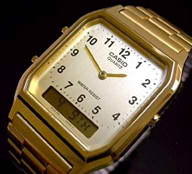 d69a6b873 Casio Analog-Digital Men's Dress Watch with Stainless steel Gold Plated band
