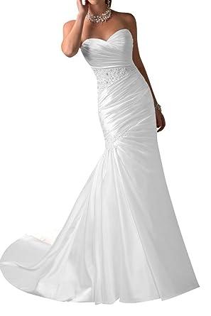 low priced 1d364 3dd55 Angel Bridal Modern lang Herzform Perlen Falte Mermaid Satin ...