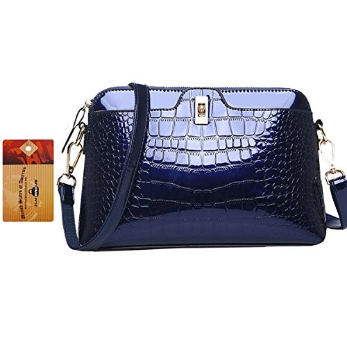 ZLMBAGUS Lady Glossy Faux Patent Leather Tote Handbag Alligator Embossing Print Satchel Purse Chain Shoulder Crossbody Bag (Faux Patent Leather Tote)