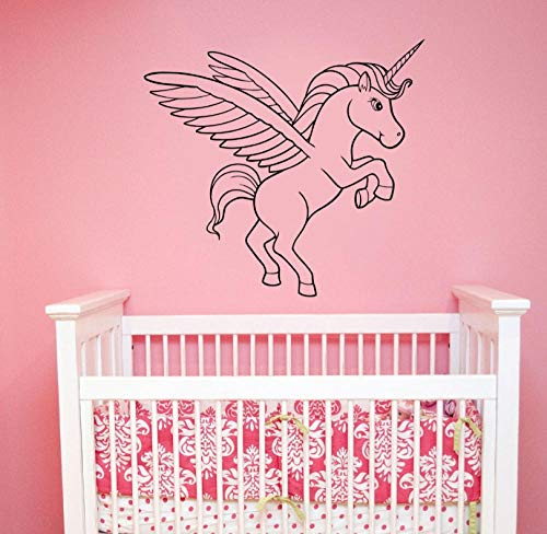 huaxiazu Children's Wall Applique Flying Pony Small Animal Vinyl Wall Stickers Home Decoration Stickers Girl Care Poster Decoration 57 X 52cm