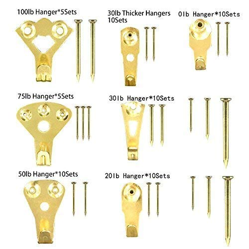 Picture Hangers 145 pcs, HTOMT Professional Wall Picture Hooks, Oil Painting Frame Hanging Hanger,Mirror Hanger,Wedding Photo Frame Hook Kits with Nails 10-100 lbs by HTOMT (Image #2)
