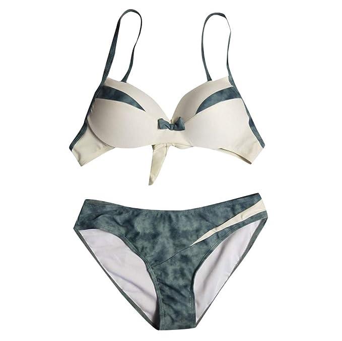 66442156f281 SANFASHION Bekleidung Swimwear di Moda 2019 Estate Ultime Bikini Triangolo  Donne Sexy Bow Tube Top Splicing Split Sling Swimsuit Swirt: Amazon.it: ...