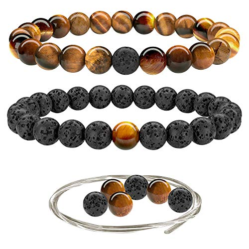 Beaded Gemstone Bracelets for Men and Women: Brown Tiger Eye and Lava Rock Bracelets with Spare Beads, Crystal Elastic Cord - Mens and Womens Essential Oil Jewelry - 7.25 Inch Bead Bracelet 8mm Beads