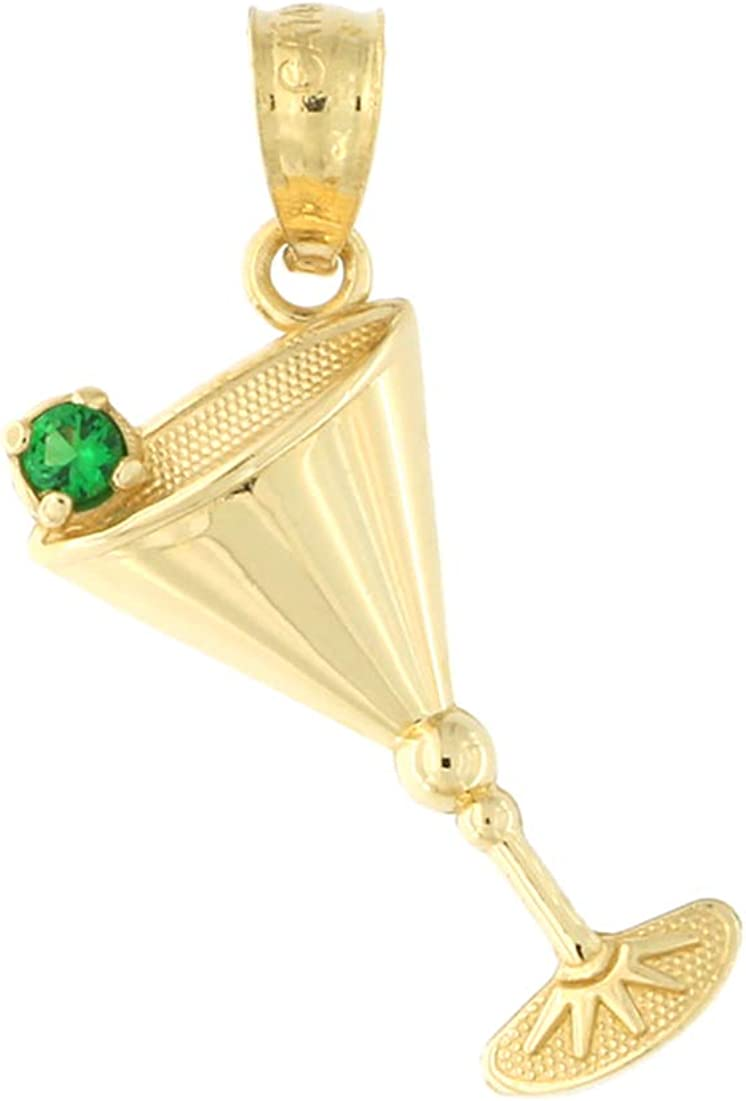 14k Yellow Gold Green Cubic Zirconia Olive Martini Glass Pendant Cable Chain Necklace