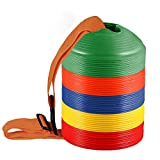 sport cone discs - KEVENZ 50-Pack 2 inch High Soccer disc Cones,Multi color Cone for Agility Training, Soccer, Football, Kids, Field Marker