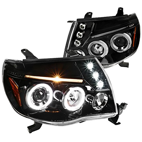 Jet Black Toyota Tacoma LED Dual Halo Projector Headlights Lamps Left+Right - Toyota Tacoma Halo Headlights