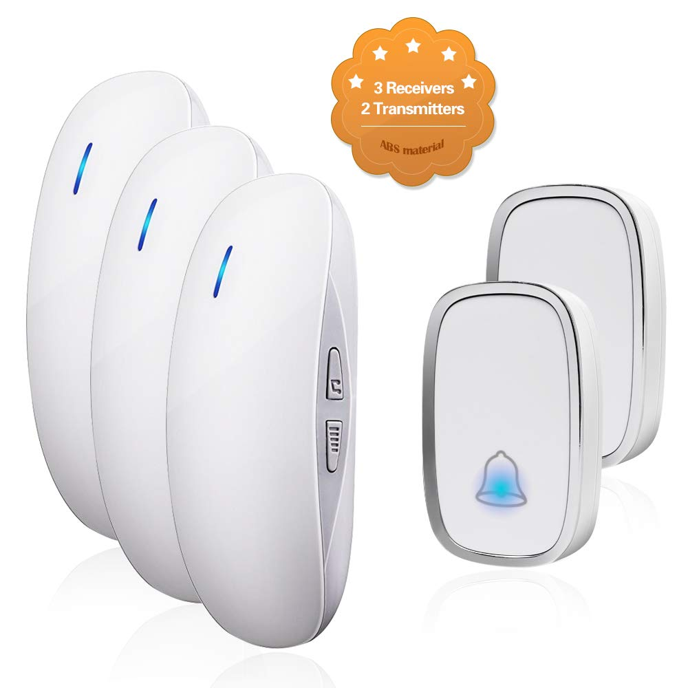 Wireless Doorbell Door Chime Kit Portable Waterproof Push Button over 900ft Long Range 4-Level Volume & Blue Light 36 Melodies to Choose 2 Transmitters-White (3Receivers)