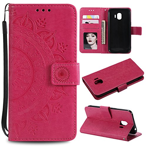 Galaxy J2 Pro 2018 Floral Wallet Case,Galaxy J2 Pro 2018 Strap Flip Case,Leecase Embossed Totem Flower Design Pu Leather Bookstyle Stand Flip Case for Samsung Galaxy J2 Pro 2018-Red by Leecase