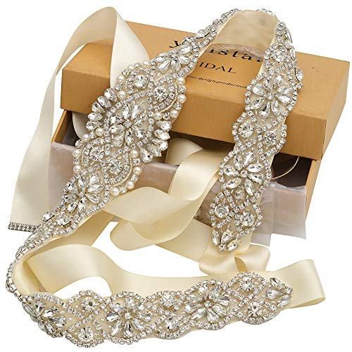 Yanstar Handmade Crystal Beads Rhinestone Bridal Wedding Belt Sash With Cream Ivory Ribbon For Bridal Wedding PartyGowns Dress