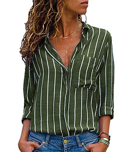 Righe Tops Lunga Camicie Manica Maglie Cime Verde Maglietta Casual Jackenlove Bluse Autunno Primavera Donne A Moda Shirts Risvolto ZOXxp6