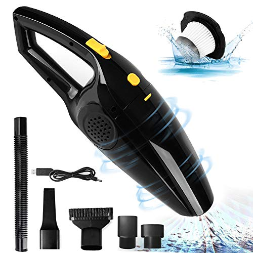 Handheld Vacuum, Cordless Handheld Vacuum Cleaner Rechargeable & Portable Wet/Dry Hand Vac with Attachments for Pet Hair Car Cleaning