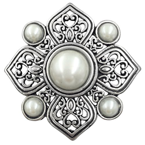 Large Abstract Statement Big Stretch Cocktail Ring (Imitation Pearl Flower Silver ()