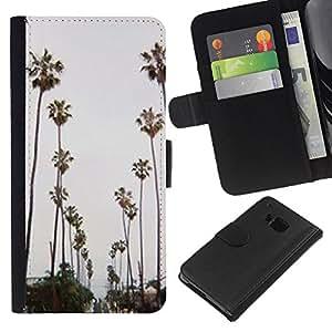 iBinBang / Flip Funda de Cuero Case Cover - Trees Road Beach Miami - HTC ONE M7