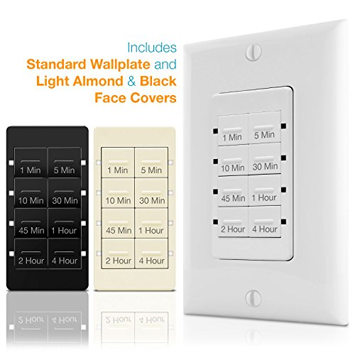 TOPGREENER Countdown Timer Switch, In-Wall Electrical Switch for Fans,  Lights, Ventilation, 1-5-10-30-45 min, 1-2-4 hr, 600W LED, 1/2HP, Neutral  Wire