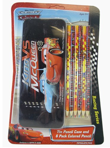 Cars Tin Pencil Case and 6 Pack Colored Pencil - Disney's Cars Pencil Case ()