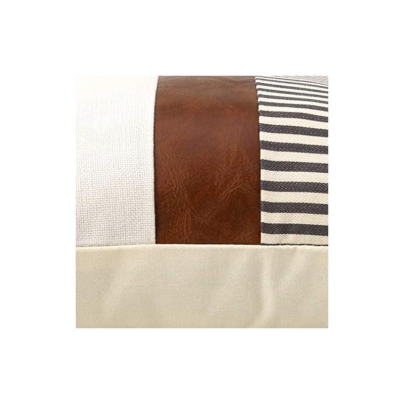 cygnus Set of 2 Farmhouse Decor Stripe Patchwork Linen Throw Pillow Covers,Modern Tan Faux Leather Accent Pillow Covers…