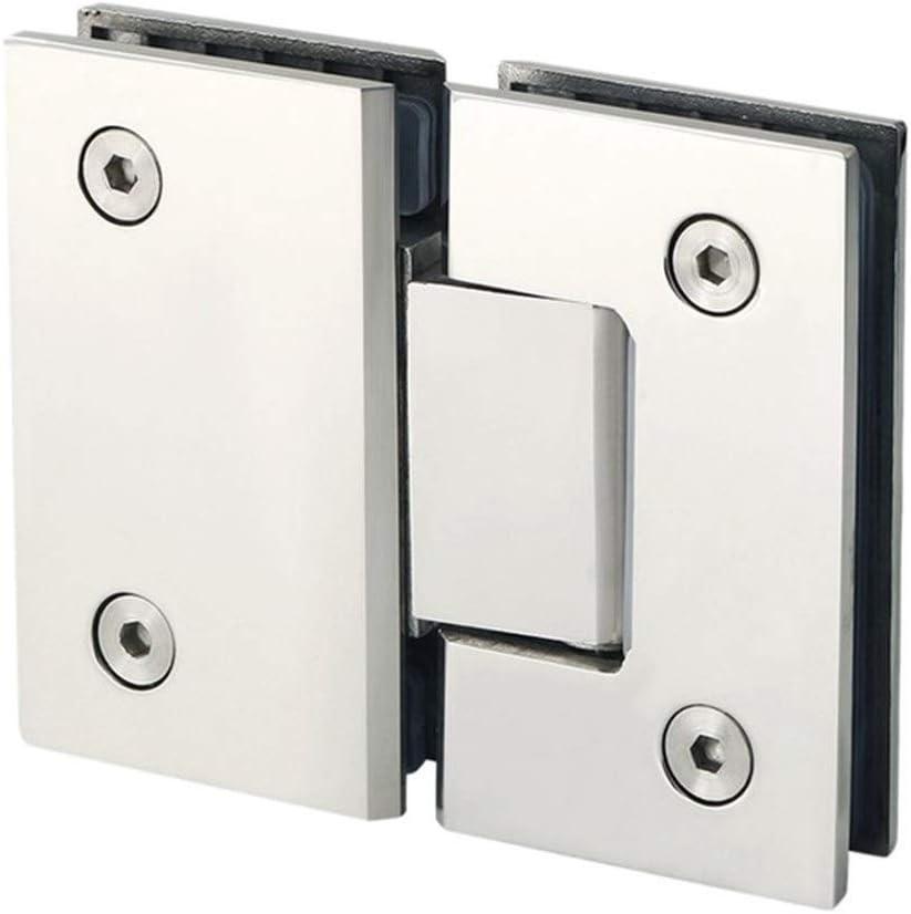 Heavy Duty 180 grados cristal de la puerta del gabinete escaparate Gabinete clip de cristal de la ducha Bisagra de puerta de reemplazo de piezas de acero inoxidable Polishe (Color : Silver)