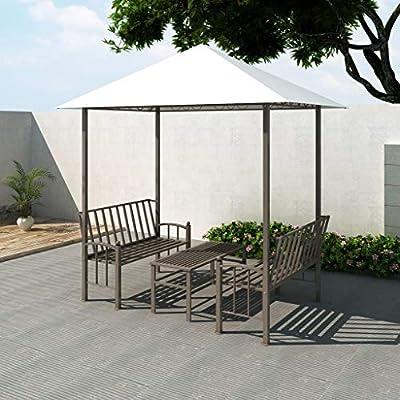 vidaXL Pérgola Jardín Mesa Bancos Cenador Marquesina Pabellón ...