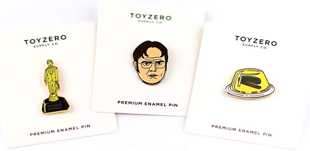 Office Enamel Pins, Prison Mike, Dundie Award, Chili, Dwight, Schrute Farms Beets