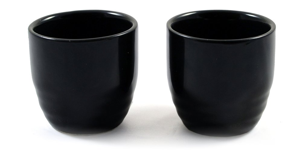 Black Japanese Sake Shot Cup Pair Zen Minded