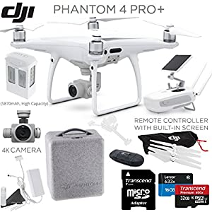 DJI Phantom 4 Pro+ (Pro Plus) Quadcopter, DJI CP.PT.000549, w/ Pro+ Bundle: Includes Remote with Built in Monitor, High Capacity Intelligent Flight Battery (5870mAh), 32GB MicroSD card and more from DJI