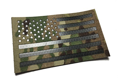Large 5x3 Inch Infrared Multicam IR Reflective Us Flag mil-spec Patch (hook/loop back)