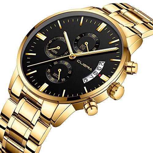 Amazon.com: CUENA Stainless Steel Watch Men Business Chronograph Quartz Wrist Watch Waterproof Sport Clock: Watches
