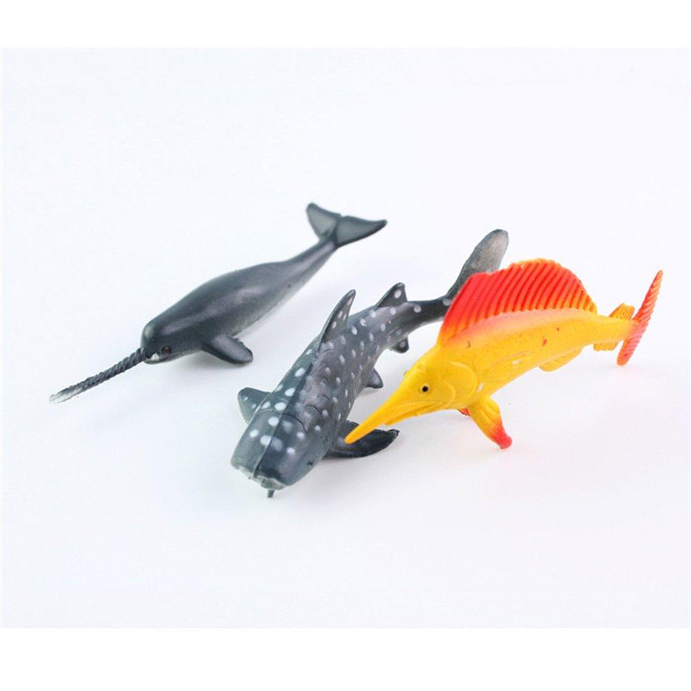 YeahiBaby 24 St/ück Meerestiere Spielzeug Ozean Tierfiguren Set Kunststoff Spielzeug Mix Modell