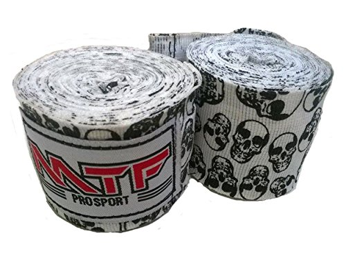 MTF Hand Wraps Muay Thai Boxing MMA K1 Fitness Gear Color Skulls White Size 180 inches Handwraps for Kickboxing Sport