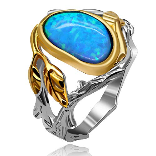 - Uloveido Women Platinum Plated Blue Fire Opal Cocktail Party Ring Tree Leaf Infinity Wedding Rings Anniversary Jewelry Thanksgiving Day Gift for Girlfriends Lovers Mom Grandma Grandmother Size 8 RA503