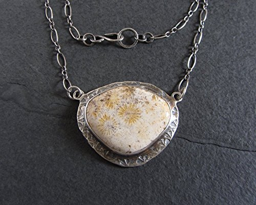 Fossil Coral Pendant (Sterling silver fossil coral statement)