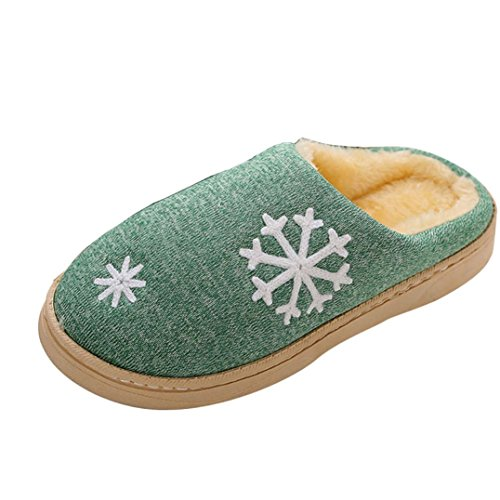 Gillberry Women Men Christmas Soft Slippers Indoor Shoes Faux Fur Warm Slippers Green