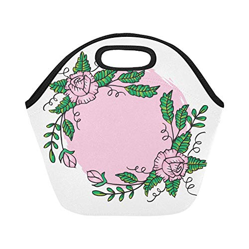 Insulated Neoprene Lunch Bag Floral Frame Rose Wreath Large Size Reusable Thermal Thick Lunch Tote Bags Lunch Boxes For Outdoor Work Office School