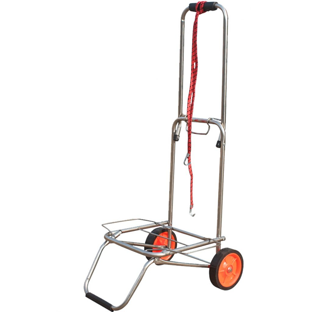 Handcart Stainless Steel Pull Rod Car Hand Truck Luggage Cart Small Trailer Folding Trolley Shopping Cart Portable Cart Load 50 Kg (Color : A)